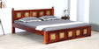 Kasiya King Size Bed with Brass Repousse Work in Honey Oak Finish by Mudramark