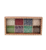 Kalaplanet Jaipuri Gemstone Multicolor Wooden Engraved Tray