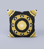 KEH Golden Wool & Cotton Embroidery 20 x 20 Inch Artistic Handmade Chain Stitch Cushion Cover
