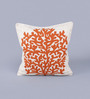KEH Saffron Wool & Cotton Embroidery 20 x 20 Inch Artistic Handmade Chain Stitch Cushion Cover