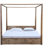 Ilwaco King Size Poster Bed with Storage in Natural Finish by Woodsworth