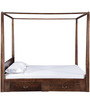 Ilwaco King Size Poster Bed with Storage in Provincial Teak Finish by Woodsworth