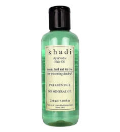 Khadi Anti Dandruff Ayurvedic Hair Oil with Neem, Basil & Tea Tree (Paraben Free) (210 ml)