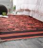 Khadi Black & Red Cotton 78 x 42 Inch Gulbahar Dhurrie