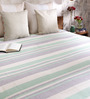 Khadi Gray & Green Cotton Stripes & Checks 100 x 90 Inch Queen Beds Bed Sheet