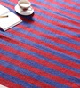 Khadi Blue & Red Cotton 78 x 42 Inch Patti Dar Dhurrie