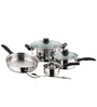 Kitchen Essentials Stainless Steel Induction Friendly Cookware Gift Set Glass Lid - Set Of 5