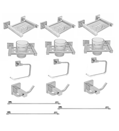 Klaxon Kristal Silver Stainless Steel Bathroom Fixture Set -Set Of 3