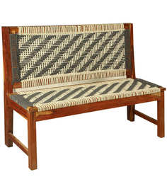 Knitted Jute Bench In White & Grey Colour By Reme - 1576575