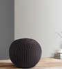Knitted Pouffe in Grey Colour by SWHF