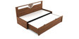 Kosmo Ornate Slider Sofa cum Bed with Storage in Walnut Finish by Spacewood
