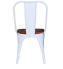 Kumtor Metal Chair in Distressed White Color with Wooden Seat by Bohemiana