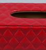 Kraftsmen Handcrafted Criss Cross Stitched Red PU Tissue Box