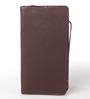 KRIO Designs PU Leather Brown & Blue Zippered Passport Holder Case
