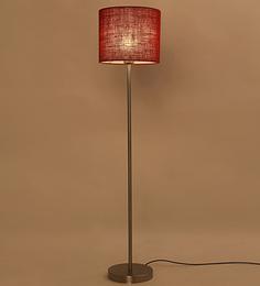 Lavish Red Jute Drum Shade Ss Floor Lamp