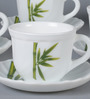 La Opala Tulip Large Fluted Green Opal Ware 180 ML Cup and Saucer - Set of 6