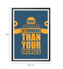 Lab No.4 - The Quotography Department Paper & PU Frame 12 x 1 x 17 Inch Make Yourself Stronger Gym Fitness Quote Framed Poster