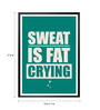 Lab No.4 - The Quotography Department Paper & PU Frame 13 x 1 x 17.5 Inch Gym Inspirational Sweat Is Fat Crying Typography Framed Poster