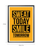 Lab No.4 - The Quotography Department Paper & PU Frame 13 x 1 x 17.5 Inch Gym Inspirational Sweat Today Smile Tomorrow Quote Framed Poster