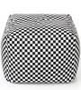 Large Cotton Canvas Checkered Design Ottoman with Beans by Style Homez