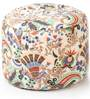 Large Cotton Canvas Floral Design (Round Shaped) Ottoman with Beans by Style Homez