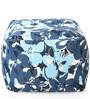 Large Cotton Canvas Floral Design (Square Shaped) Ottoman with Beans by Style Homez