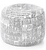 Large Cotton Canvas Newspaper Design Ottoman with Beans by Style Homez