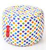 Large Cotton Canvas Polka Dots Design (Round Shaped) Ottoman Cover Only by Style Homez