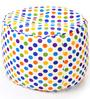 Large Cotton Canvas Polka Dots Design (Round Shaped) Ottoman with Beans by Style Homez