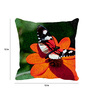 Leaf Designs Multicolor Microfibre 12 x 12 Inch Dramatic Butterfly on Flower Cushion Cover