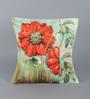 Leaf Designs Orange & Green Poly Duck Flora Cushion Cover