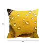 Leaf Designs Yellow Microfibre 16 x 16 Inch Cushion Cover