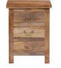 Prescott Three Drawer Bed Side Table in Natural Mango Wood Finish by Woodsworth