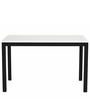 Leonardo Six Seater Dining Table in White & Black Colour by Asian Arts