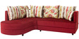 Colorado Fabric RHS Sectional Sofa with Lounger in Red Colour by HomeTown