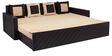 Libford Sofa Cum Sofa cum Bed with Four Pillows in Cream Colour by Auspicious