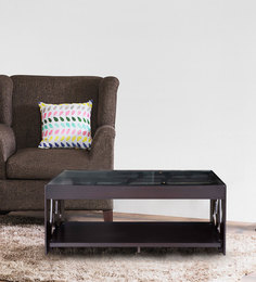 Lilac Center Table With Glass Top In Dark Brown Colour By Karigar