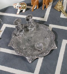 Little India Silver Metal White Lord Laxmi Ganesh Idol With Dia Thali