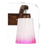 Lime Light Pink & White Glass & Wood Wall Lamp