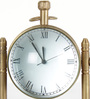 Little India Brown Brass Antique Table Clock Compass