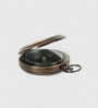Little India Brown Brass Pushbutton Anchor Style Black Nautical Compass