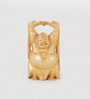 Little India Brown Wooden Good Luck Sign Laughing Buddha Handicraft Gift