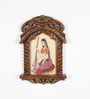 Little India Brown Wooden Rajasthani Lady Playing Sitar Jharokha Gift