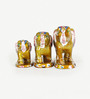 Little India Multicolour Papier Mache Elephant Showpiece Gift - Set of 3