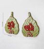 Little India Multicolour Wooden Designer Paan Shape Shubh Labh Door Hanging - Set of 2
