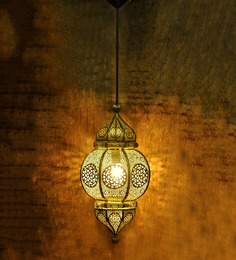 Logam Golden Iron Moroccan Filigree Hanging Light