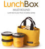 Lock&Lock Bento Multi Round Lunch Box Set With 3 Containers & Big Bag - Yellow
