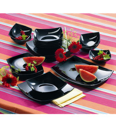 Luminarc Quadrato Black 21 Pcs Quadrato Dinner Set