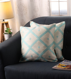 Lushomes Aqua Polyester 16 X 16 Inch Jacquard Cushion Covers - Set Of 2