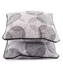 Lushomes Black Cotton 12 x 12 Inch Geometric Printed Cushion Covers with Co-Ordinating Cord Piping - Set of 2